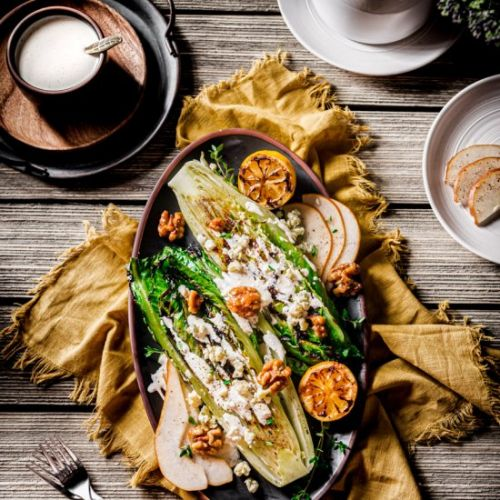 Grilled Romaine and Pear Steakhouse