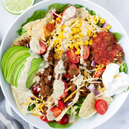 Beef Taco Salad with Chipotle Ranch