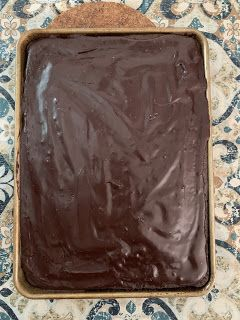 Chocolate sheet cake with cocoa glaze