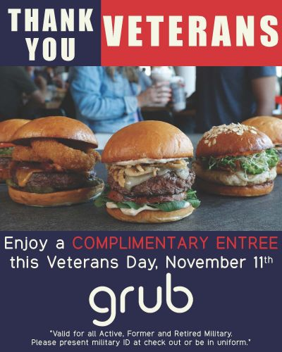 Grub Offers Complimentary Veterans Day Entree to Active, Former and Retired Military
