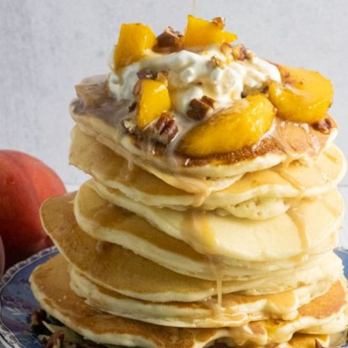 Peach Pancakes with Pecan Syrup