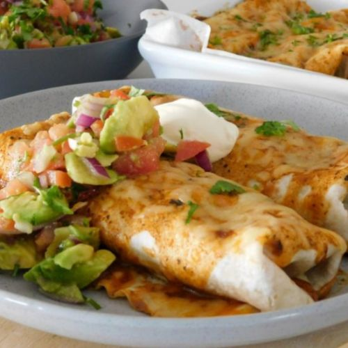 Cheesy Beef Enchiladas with Salsa