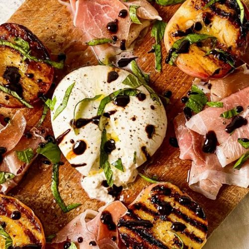 Burrata and Grilled Peach Salad
