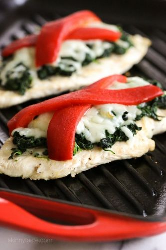 Grilled Chicken with Spinach and Melted Mozzarella