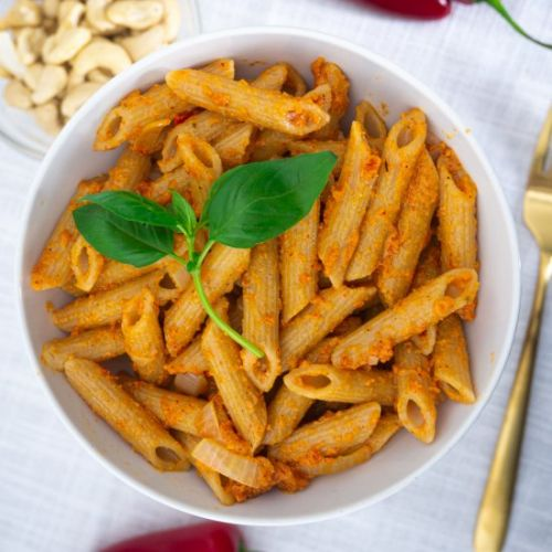 Roasted red pepper pesto with Penne
